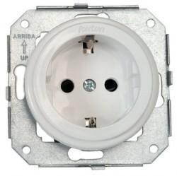 Розетка Fontini GARBY COLONIAL, скрытый монтаж, с заземлением, со шторками, белый, 31212022