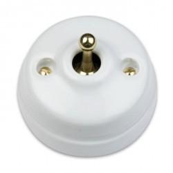 Выключатель тумблерный двухполюсный Fontini DIMBLER, золото/белый, 60314432