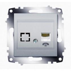 Розетка 2xRJ11 ABB COSMO, алюминий, 619-011000-221