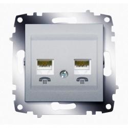 Розетка 2xRJ11 ABB COSMO, алюминий, 619-011000-222