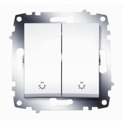 Выключатель 2-клавишный ABB COSMO, с подсветкой, скрытый монтаж, белый, 619-010200-257