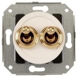 Выключатель тумблерный 2-клавишный кнопочный Fontini VENEZIA, золото/белый, 65345302