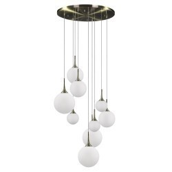 Lightstar (MD5081A-9EB)  Люстра GLOBO 9х40W  E14 electroplating bronze/white, 813091