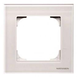 Рамка 1 пост ABB SKY, белое стекло, 2CLA857100A3001