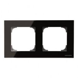 Рамка 2 поста ABB SKY, черное стекло, 2CLA857200A3101