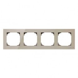 Рамка 4 поста ABB SKY, белое стекло, 2CLA857400A3001