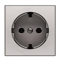 Накладка на розетку ABB SKY, с заземлением, нержавеющая сталь, 2CLA858890A1401