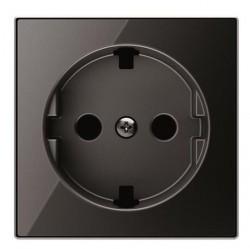 Накладка на розетку ABB SKY, с заземлением, черное стекло, 2CLA858890A2501