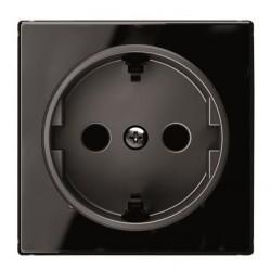 Накладка на розетку ABB SKY, с заземлением, черное стекло, 2CLA858800A2501