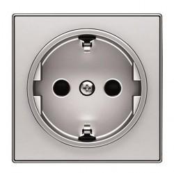 Накладка на розетку ABB SKY, с заземлением, алюминий, 2CLA858800A1301
