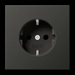 Розетка Jung LS METAL, скрытый монтаж, с заземлением, антрацит, AL1520AN