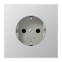 Розетка Jung LS METAL, скрытый монтаж, с заземлением, со шторками, матированный алюминий, AL1520NKI