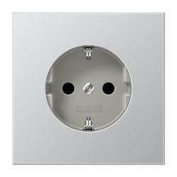 Розетка Jung LS METAL, скрытый монтаж, с заземлением, со шторками, серебристый, AL1521KI