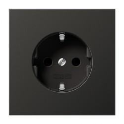 Розетка Jung LS METAL, скрытый монтаж, с заземлением, светло-серый, AL2521AN