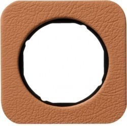Рамка 1 пост Berker R.1, коричневая кожа, 10112364