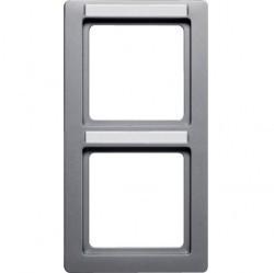 Рамка 2 поста Berker Q.1, вертикальная, алюминий бархатный, 10126014