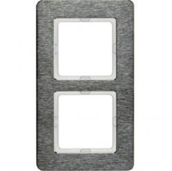 Рамка 2 поста Berker Q.7, вертикальная, нержавеющая сталь, 10126083