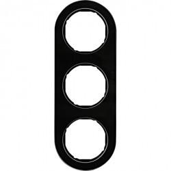 Рамка 3 поста Berker R.CLASSIC, черное стекло, 10132016