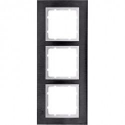 Рамка 3 поста Berker B.7, вертикальная, нержавеющая сталь, 10133609