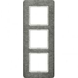 Рамка 3 поста Berker Q.7, вертикальная, нержавеющая сталь, 10136083