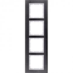 Рамка 4 поста Berker B.7, вертикальная, нержавеющая сталь, 10143609