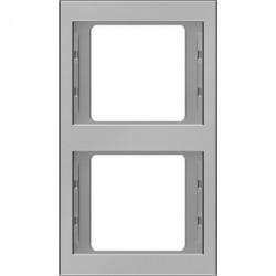 Рамка 2 поста Berker, вертикальная, нержавеющая сталь, 13237004