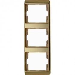 Рамка 3 поста Berker ARSYS, вертикальная, золото светлое, 13340002