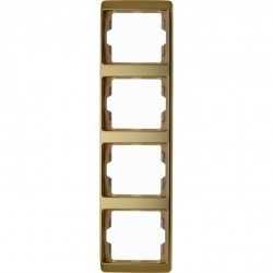Рамка 4 поста Berker ARSYS, вертикальная, золото светлое, 13440002