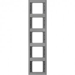 Рамка 5 постов Berker, вертикальная, нержавеющая сталь, 13537004