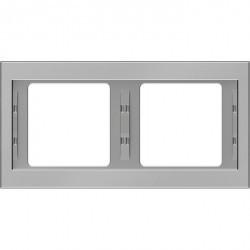 Рамка 2 поста Berker, горизонтальная, нержавеющая сталь, 13637004