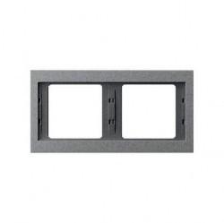 Рамка 2 поста Berker, горизонтальная, алюминий матовый, 13637024