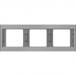Рамка 3 поста Berker, горизонтальная, нержавеющая сталь, 13737004
