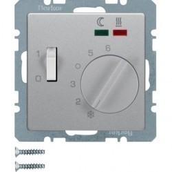Термостат для теплого пола Berker, с датчиком, алюминий бархатный, 20346084