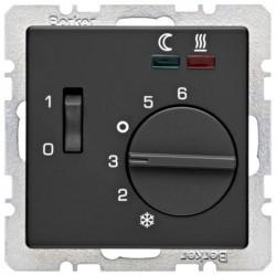 Термостат для теплого пола Berker, с датчиком, черный бархат, 20346086