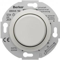 Светорегулятор-переключатель поворотный Berker, 420 Вт, белый блестящий, 283410