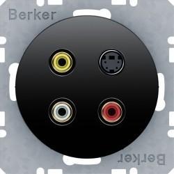 Розетка Cinch/S-Video Berker, черный блестящий, 3315322045