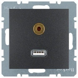 Розетка USB+mini-jack Berker, черный, 3315391606