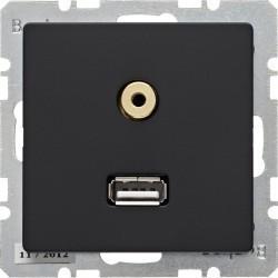 Розетка USB+mini-jack Berker, черный бархат, 3315396086