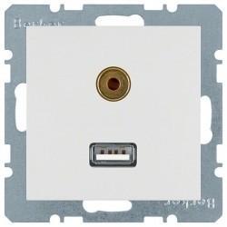 Розетка USB+mini-jack Berker, белый, 3315398989