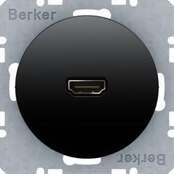 Розетка HDMI Berker, черный блестящий, 3315422045