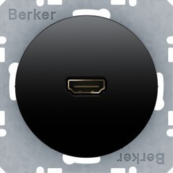 Розетка HDMI Berker, черный блестящий, 3315432045
