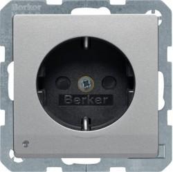 Розетка Berker, скрытый монтаж, с заземлением, алюминий бархатный, 41096084