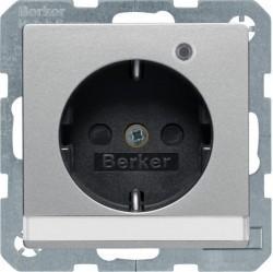 Розетка Berker, скрытый монтаж, с заземлением, алюминий бархатный, 41106084
