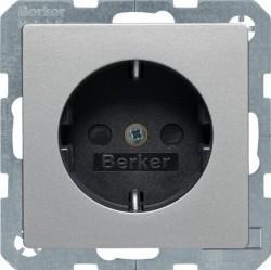 Розетка Berker, скрытый монтаж, с заземлением, со шторками, алюминий бархатный, 41236084