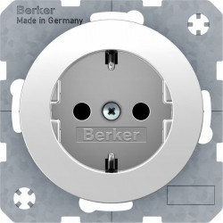 Розетка Berker, скрытый монтаж, с заземлением, белый блестящий, 41432089