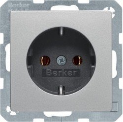 Розетка Berker, скрытый монтаж, с заземлением, алюминий бархатный, 41436084