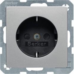 Розетка Berker, скрытый монтаж, с заземлением, алюминий бархатный, 41496084