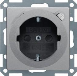 Розетка Berker, скрытый монтаж, с заземлением, алюминий бархатный, 47086084