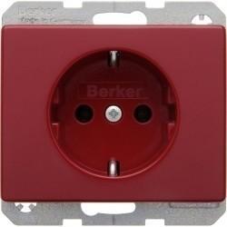 Розетка Berker ARSYS, скрытый монтаж, с заземлением, красный, 47150062