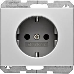 Розетка Berker, скрытый монтаж, с заземлением, алюминий, 47157003